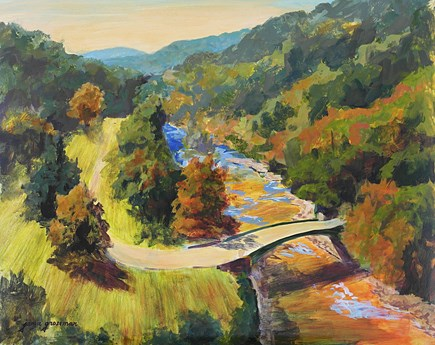 """Autumn View from Croton Dam"" original fine art by Jamie Williams Grossman"