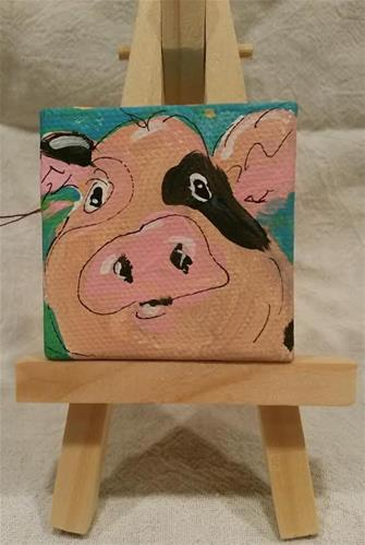 """Itty Bitty Pig"" original fine art by Terri Einer"