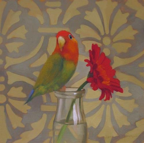 """""""Parrot and Daisy"""" original fine art by Diane Hoeptner"""