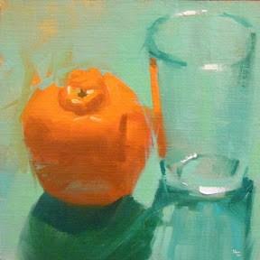 """TANGERINE AND GLASS"" original fine art by Helen Cooper"