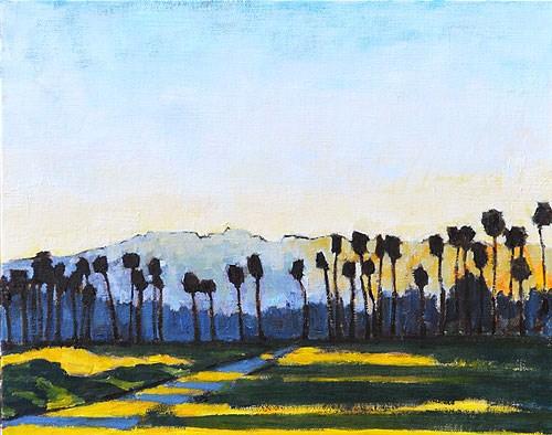 """Santa Barbara Sunset Palms"" original fine art by Kevin Inman"
