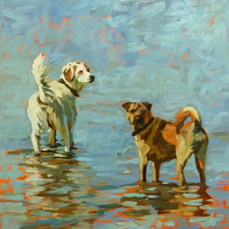 """Jackson and Reagan- 12x12 commission"" original fine art by Mary Sheehan Winn"