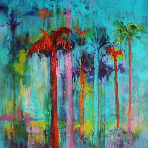 """Miami Heat, Landscape of Palm Trees by Arizona Artist Amy Whitehouse"" original fine art by Amy Whitehouse"