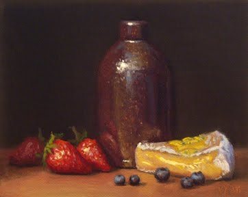 """""""Strawberries, Blueberries, and Camembert with Bottle"""" original fine art by Abbey Ryan"""