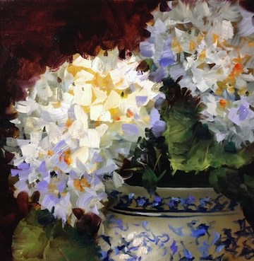 """Indigo Lace Hydrangeas - Flower Paintings by Nancy Medina"" original fine art by Nancy Medina"