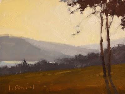 """Misty Lake Study"" original fine art by Laurel Daniel"