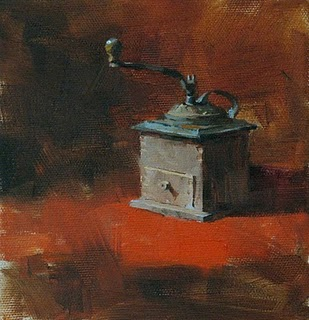 """""""Old Time for Coffee --- Sold"""" original fine art by Qiang Huang"""