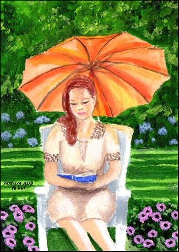 """Girl With a Book"" original fine art by Patricia Ann Rizzo"