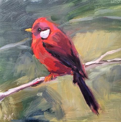 """Little Red Bird"" original fine art by Deborah Newman"