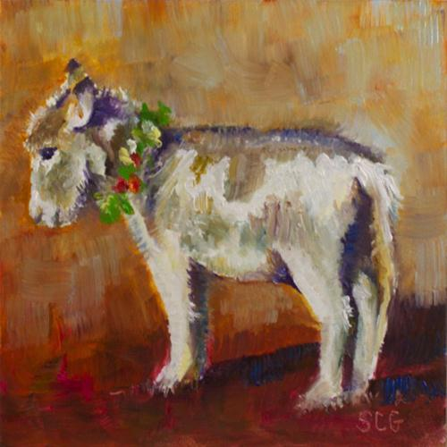 """Christmas Donkey"" original fine art by Sue Churchgrant"
