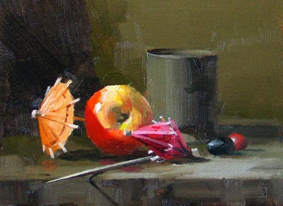 """Apple and Parasols"" original fine art by Qiang Huang"