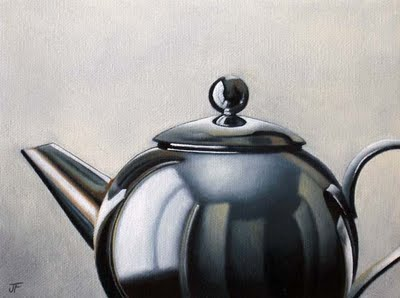 """Chrome Teapot Study #2"" original fine art by Jelaine Faunce"