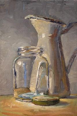 """Jar and Pitcher"" original fine art by Raymond Logan"