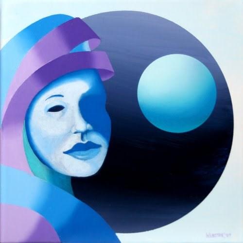 """Mark Adam Webster - Untitled Mask with Sphere Oil Painting"" original fine art by Mark Webster"