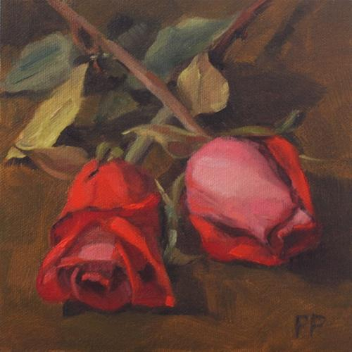 """Pair of Roses"" original fine art by Pamela Poll"