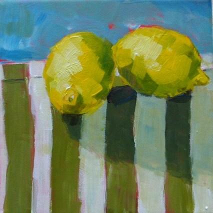 """""""Zitronen auf Küchenhandtuch """" original fine art by Sabine Hüning"""