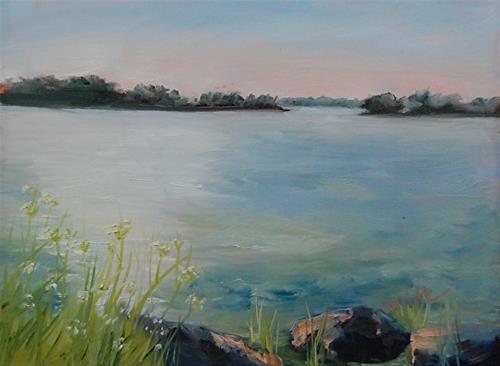 """Indian Lake Dusk, 6 x 8 Oil, Landscape"" original fine art by Donna Pierce-Clark"