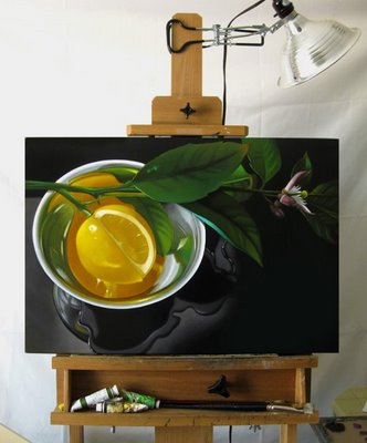 """Lemon In Silver 18x28"" original fine art by M Collier"
