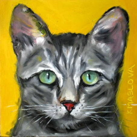 """Cat"" original fine art by Kulli Maslova"