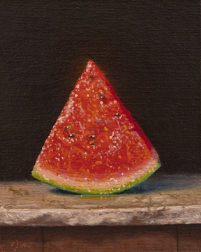 """Watermelon Slice on Marble  (+ a TED Talk not to miss)"" original fine art by Abbey Ryan"