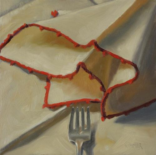 """Linen napkin  6x6  oil on board"" original fine art by Claudia Hammer"