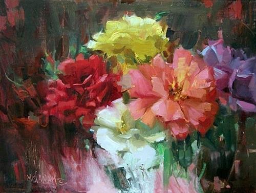 """Rosy Mix"" original fine art by Mary Maxam"