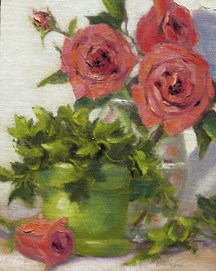 """Roses & Ivy"" original fine art by Pat Fiorello"
