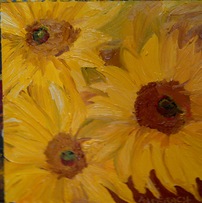 """3 sunflowers"" original fine art by Jo Allebach"