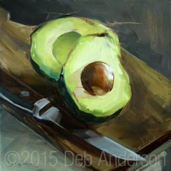 """""""Oil Painting: Avocado"""" original fine art by Deb Anderson"""