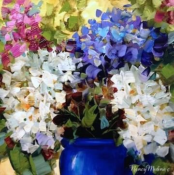 """Midnight Hydrangeas - Flower Paintings by Nancy Medina"" original fine art by Nancy Medina"