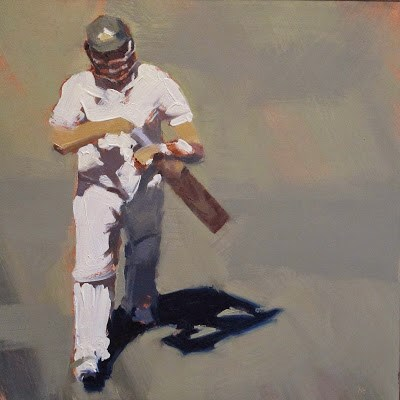"""OUT! - Cricket at the MCG"" original fine art by Helen Cooper"
