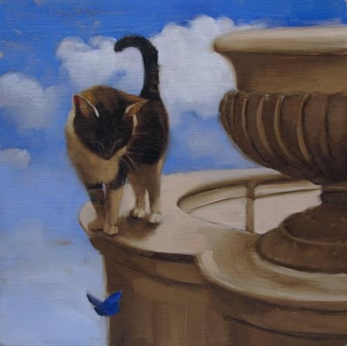 """""""Blue Butterfly and Cat"""" original fine art by Diane Hoeptner"""