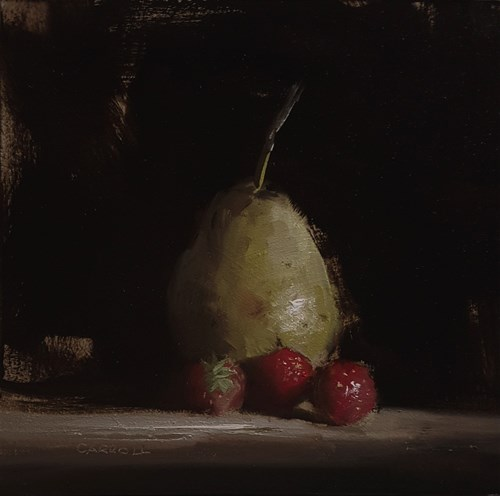 """""""Pear with Strawberries"""" original fine art by Neil Carroll"""