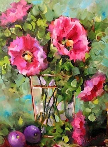 """""""Day 10 ~ Plums and Hollyhocks by Floral Artist Nancy Medina"""" original fine art by Nancy Medina"""