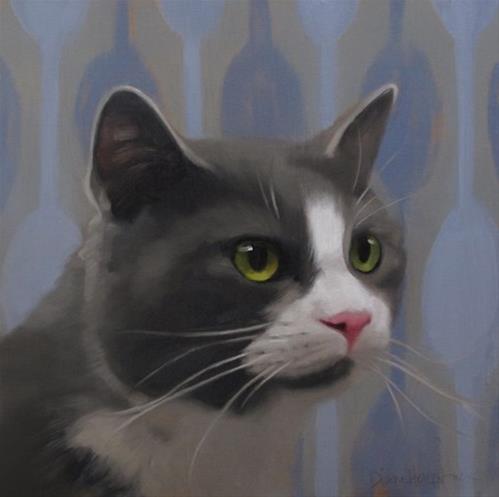 """""""Gray Tuxedo Cat"""" original fine art by Diane Hoeptner"""