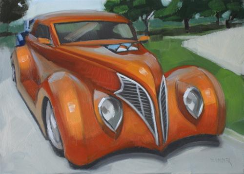"""1937 Ford 5x7 oil"" original fine art by Claudia Hammer"