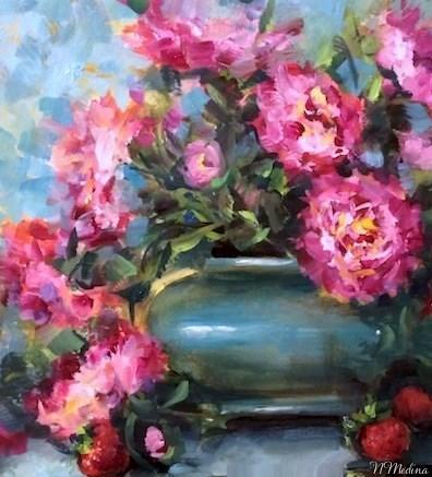 """Strawberries and Pink Peonies"" original fine art by Nancy Medina"
