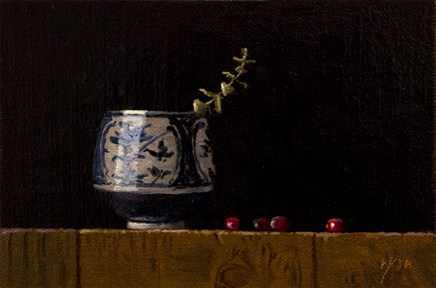 """""""Blue & White Cup with Cranberries and Eucalyptus"""" original fine art by Abbey Ryan"""