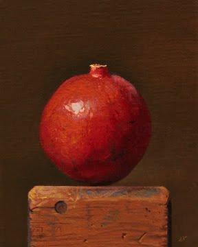 """Pomegranate on a Wood Block No. 2"" original fine art by Abbey Ryan"