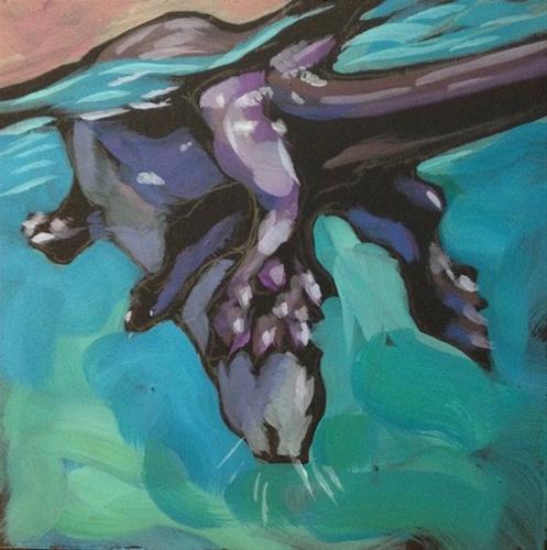 """""""Twisty Dive"""" original fine art by Kat Corrigan"""