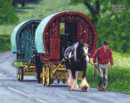 """Irish Tinker Wagons"" original fine art by Donald Curran"
