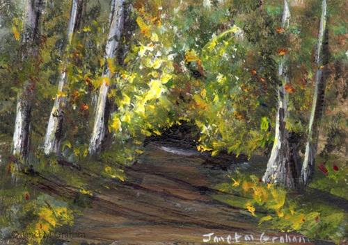 """""""Fall Pathway ACEO"""" original fine art by Janet Graham"""