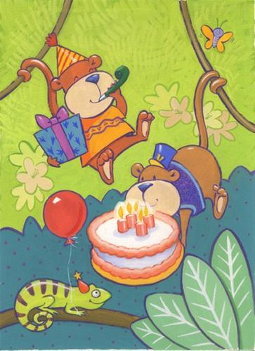 """Birthday cakes and monkeys"" original fine art by Kathy Weber"
