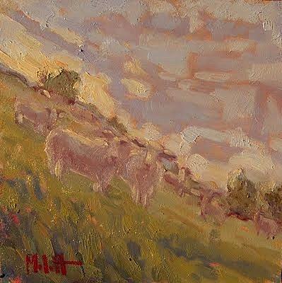 """Steep Sheep Lamb Sunset Herd Sheep Art"" original fine art by Heidi Malott"
