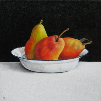 """Forell Pears on black & white"" original fine art by Pera Schillings"