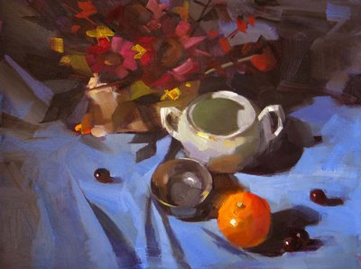 """Orange on Blue Cloth"" original fine art by Qiang Huang"