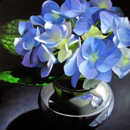 """Blue Hydrangea In Silver 6x6"" original fine art by M Collier"