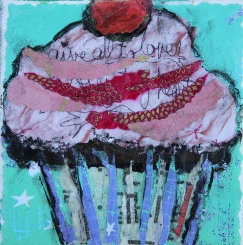 """Festive Cupcake, Contemporary Mixed Media Still Life by Arizona Artist Amy Whitehouse"" original fine art by Amy Whitehouse"