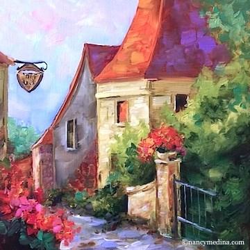 """""""Frayssinet Sunset -  French Landscapes and Florals by Nancy Medina"""" original fine art by Nancy Medina"""