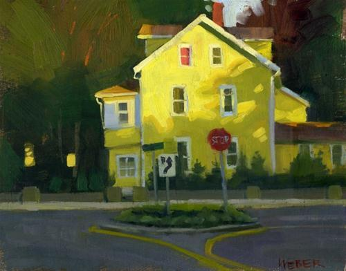 """""""Yellow house at sunset"""" original fine art by Kathy Weber"""